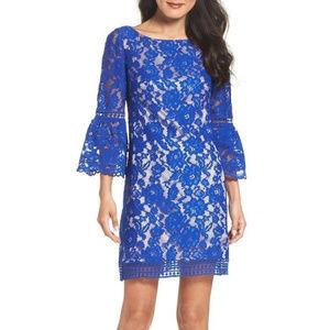 Eliza J Bell Sleeve Shift Dress COBALT Size 4